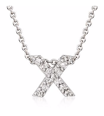 Tiny Initial ''X'' Necklace