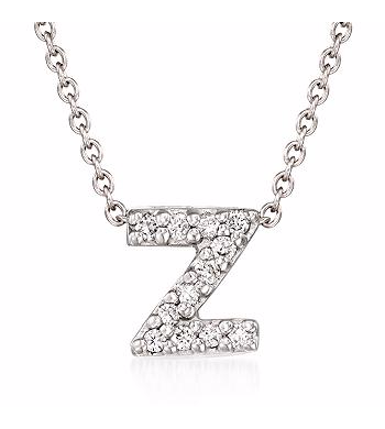 Tiny Initial ''Z'' Necklace