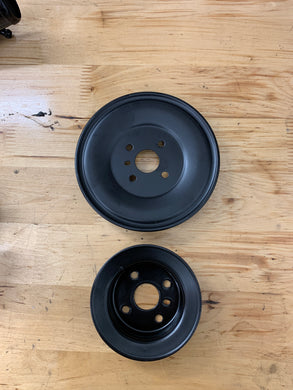 1g water pump pulleys (powdercoated black)