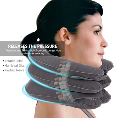 Hot Inflatable Air Neck Traction & Stretcher | Soft Neck Cervical Collar Pillow Pain Stress Relief