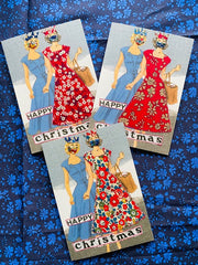 Christmas Cards - handmade, retro Liberty design, set of 3