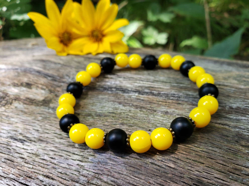 sunflower-stack-bead-bracelet