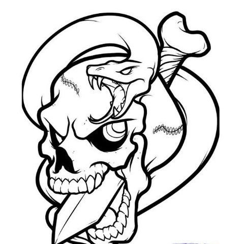 draw a skull pierced with a dagger with a snake