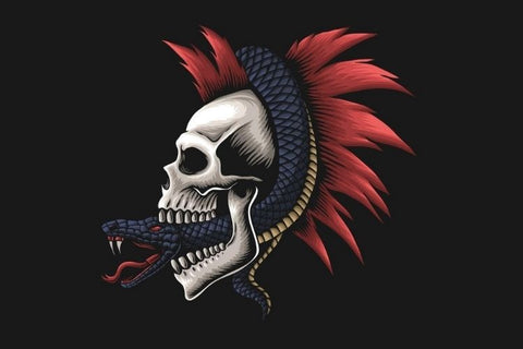 skull pierced with a dagger with a snake