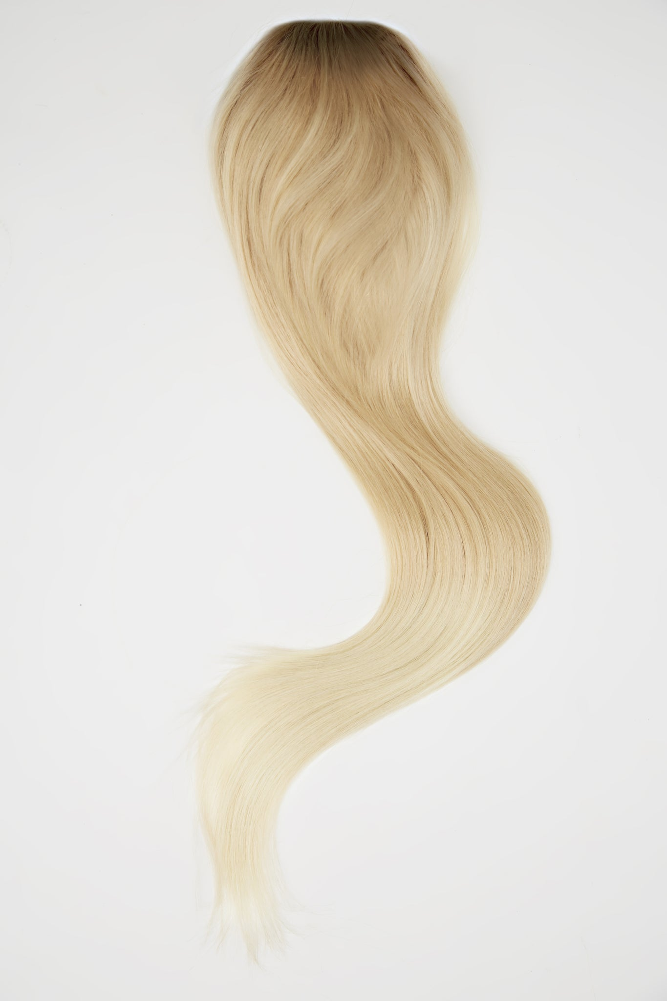 "Cool Ultra Blonde Balayage 2"" Rooted Ponytail"