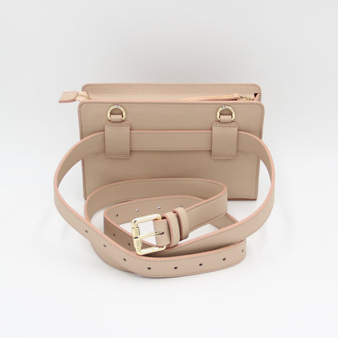 Sling&Belt, Clutch, Belt Bag, Shoulder Bag, Crossbody Bag, Small Bag, sling, clutches, soclutch, Small Purse, Travel Purse, Evening Purse, Fanny Pack, Small Bag, Leather Purse, Leather Bag, color-belt-champagne beige/blush edge
