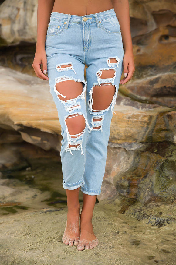 CANDICE RIPPED BOYFRIEND JEANS - Blue Denim