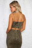 DELAYED CROP TOP - Dark Khaki