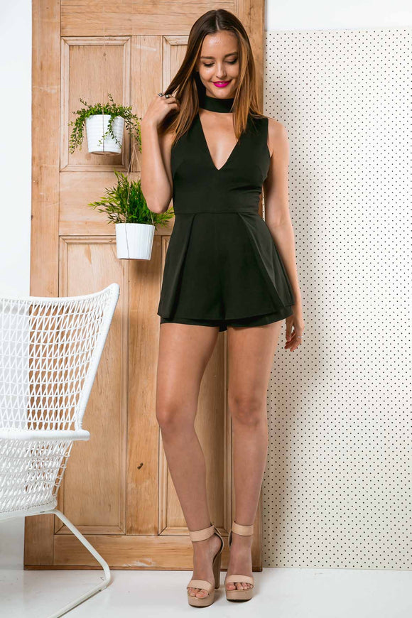 BELIEVER SLEEVELESS PLAYSUIT - Black