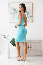 VALORA BODYCON MIDI DRESS - Blue Tie Dye