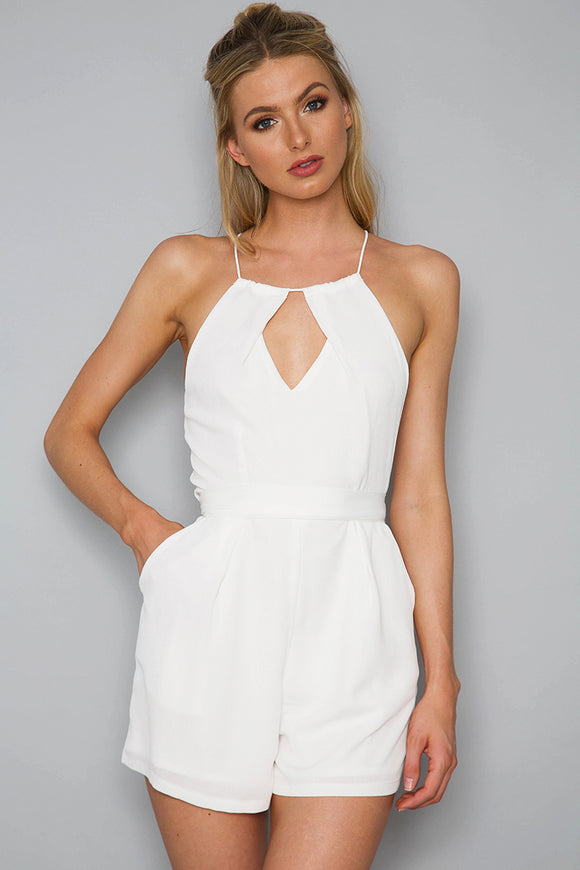 PLAIN NICO PLAYSUIT - White - Dolly Girl Fashion