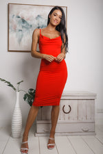 SIERRA COWL NECK MIDI DRESS - Red