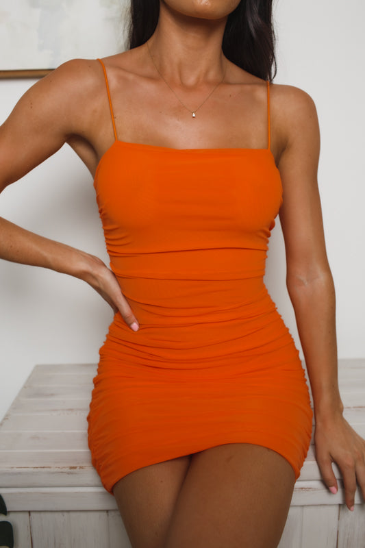 SOPHIE BACK CUT-OUT MINI DRESS - Orange