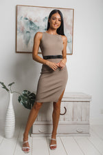 VALENCIA SLEEVELESS KNIT MIDI DRESS - Mocha