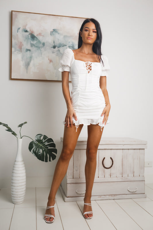 SUZIE RUCHED MINI DRESS - White