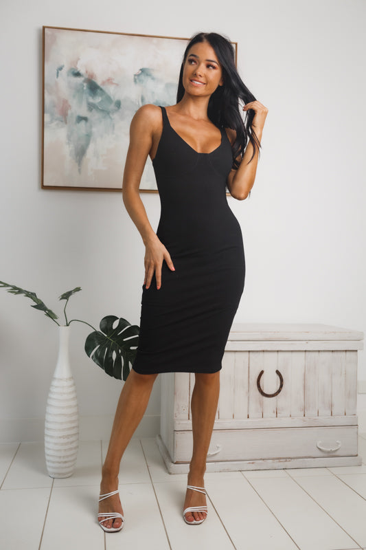 KELLIE RIBBED MIDI DRESS - Black