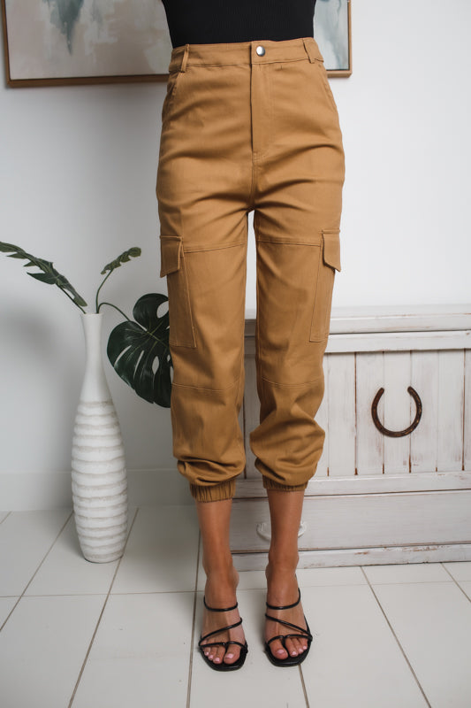 AMBERLY HIGH WAISTED CARGO PANTS - Tan