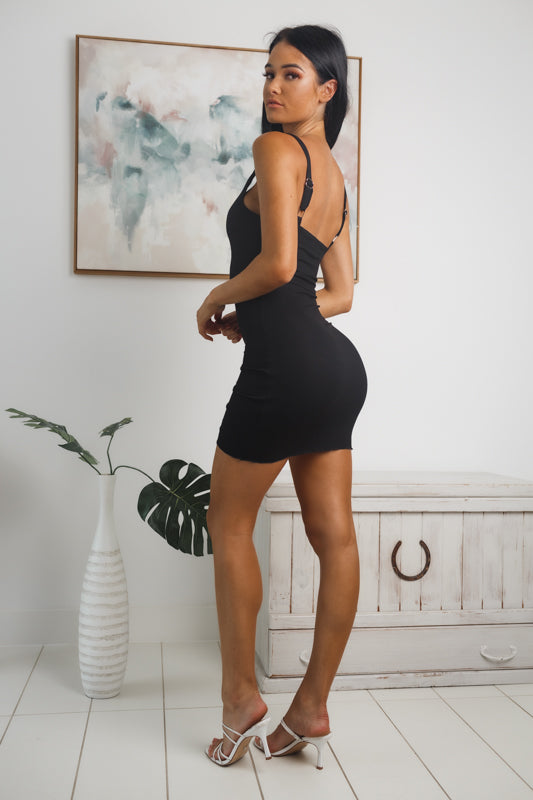 KELANI RIBBED MINI DRESS - Black