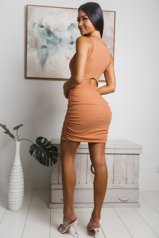 TINA BACK CUT-OUT MINI DRESS - Dark Apricot