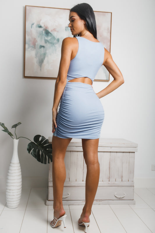 TINA BACK CUT-OUT MINI DRESS - Dusty Blue