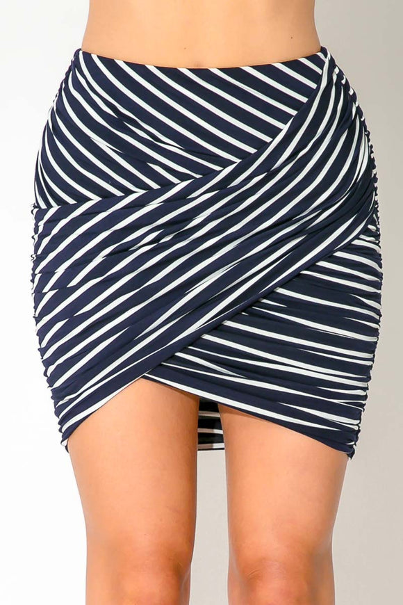 MOANA MINI SKIRT - Black White Stripes