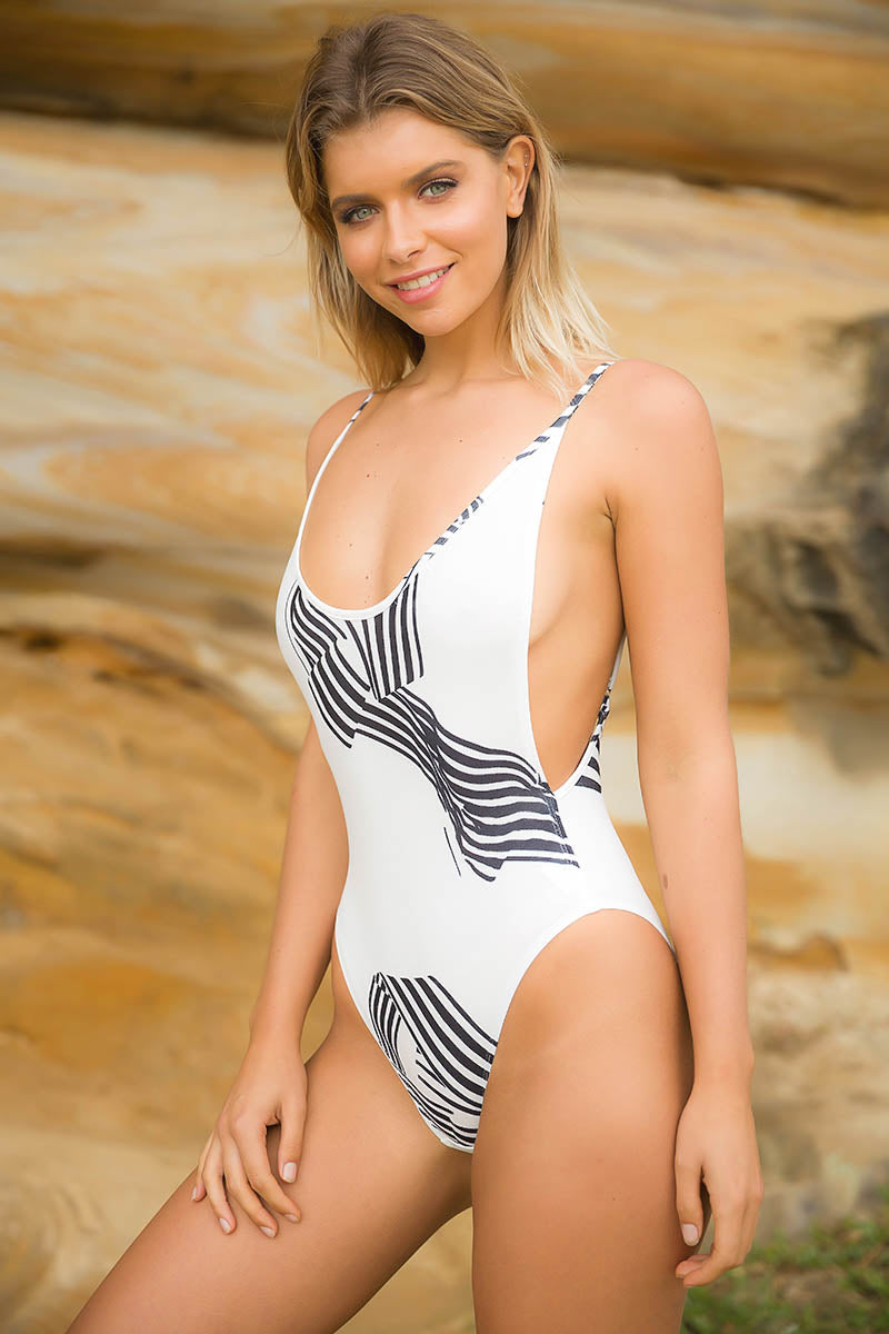 PIPPA BODYSUIT - White Black Print