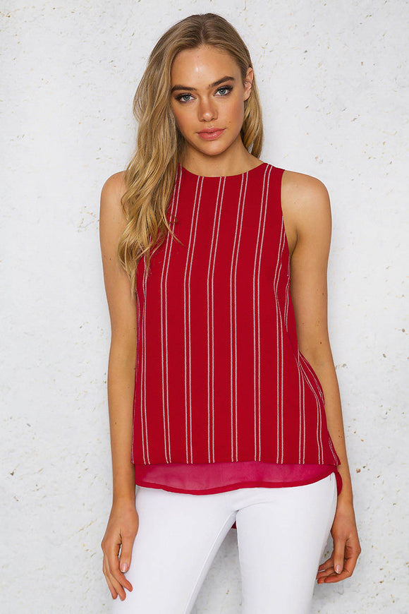 MAYA TOP - Red White Stripes