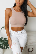 ELISSA SLEEVELESS CROP TOP - Nude