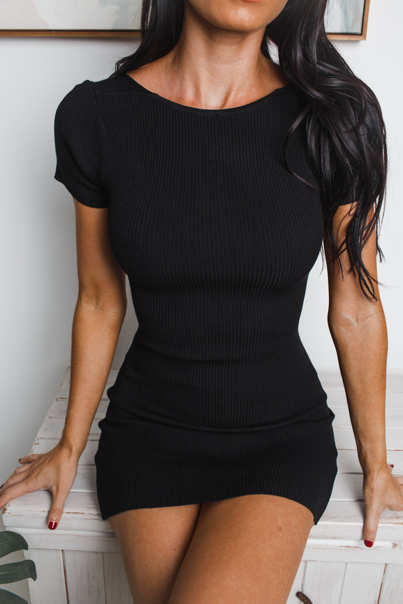 ALEXIS BACK CUT-OUT KNIT MINI DRESS - Black