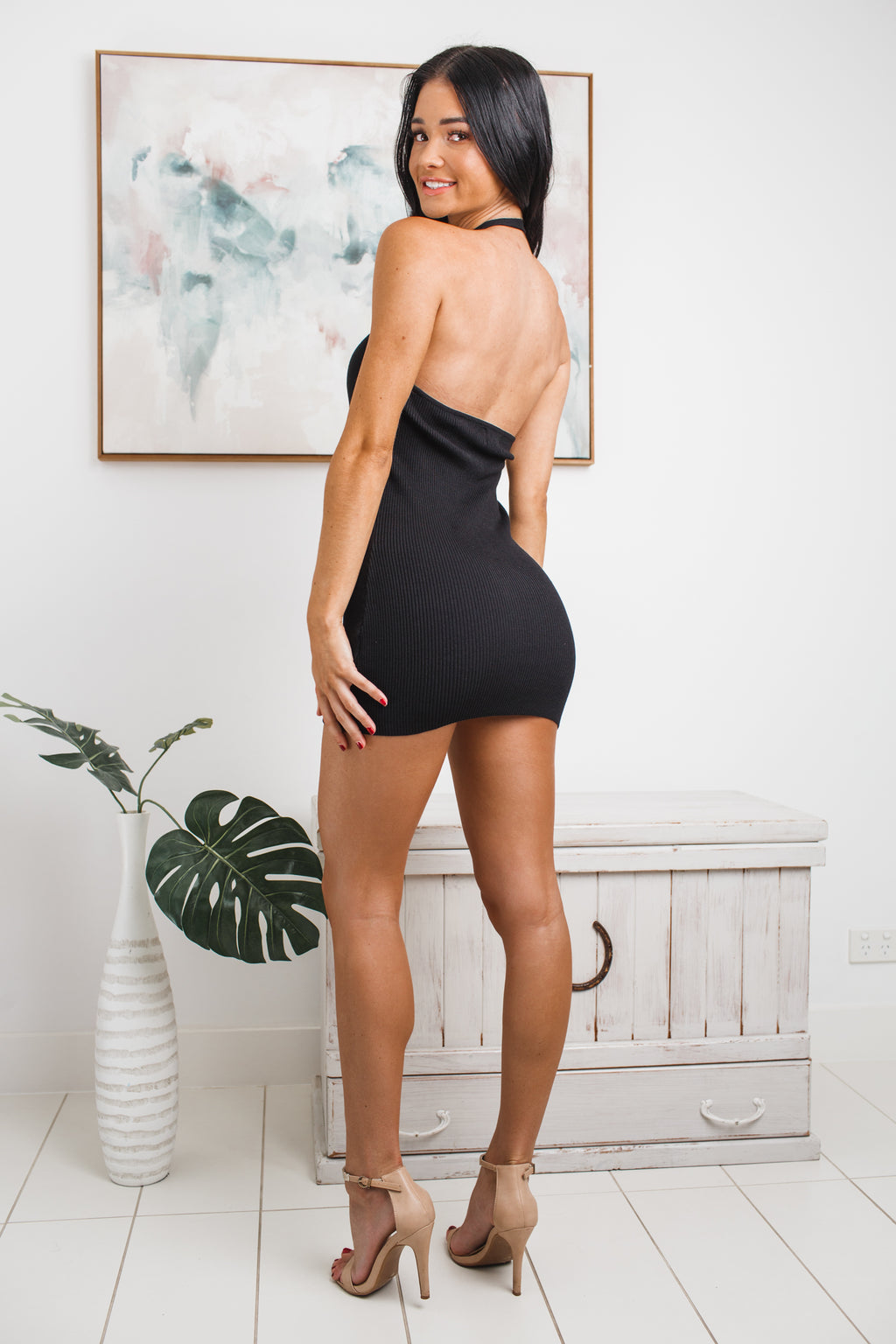 RENA HALTER NECK KNIT MINI DRESS - Black