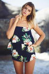 Vintage Playsuit - Navy/Green Floral