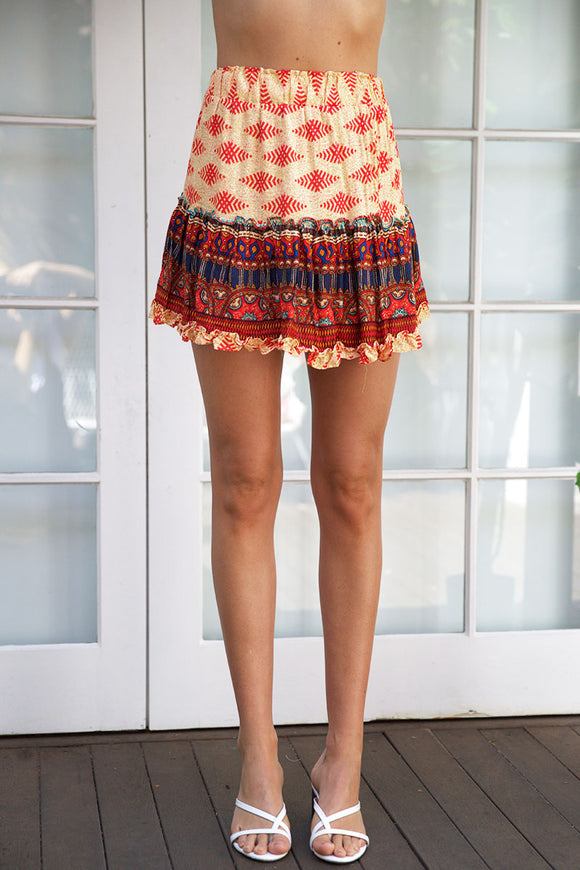 PARTY FAVOUR MINI SKIRT - Red Multi
