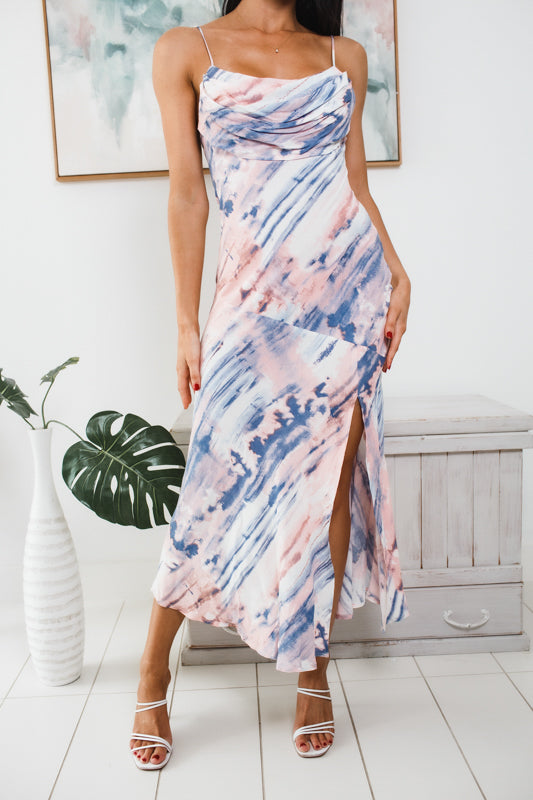 LILAH FRONT SPLIT MAXI DRESS - Blue Multi Print