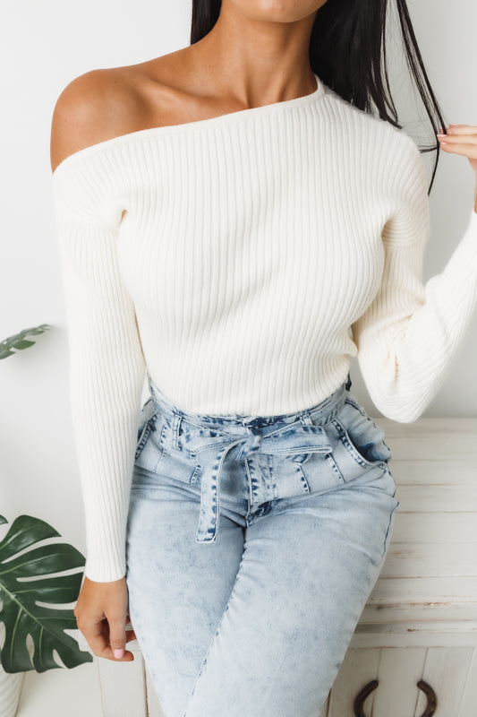 KAITLYN LONG SLEEVE KNIT TOP - Off White