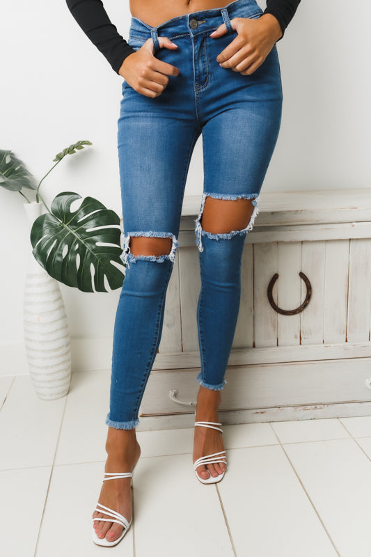 SYLVELLA RIPPED DENIM JEANS - Blue