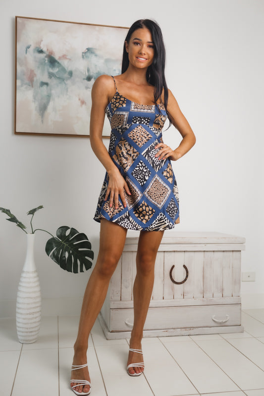 ALORA MINI DRESS - Navy Print