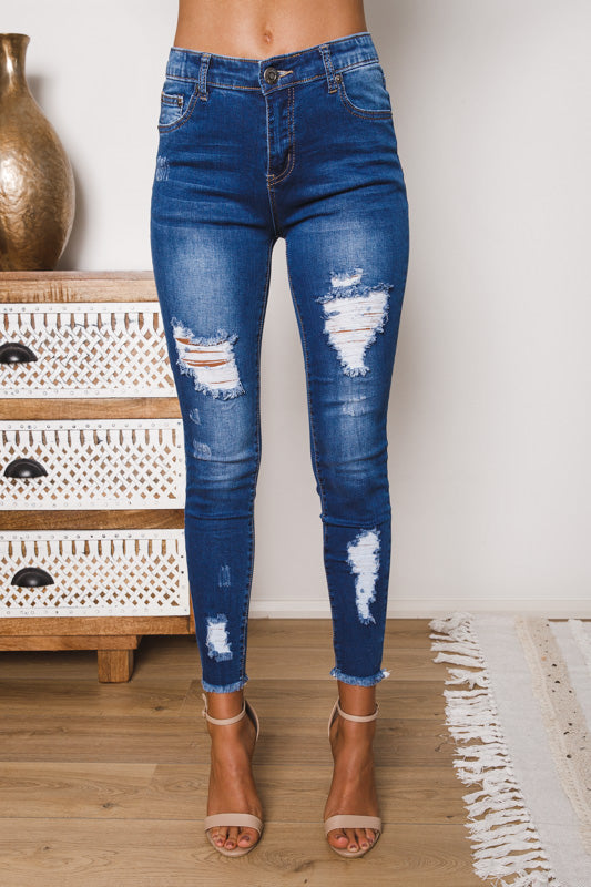 GLINDA DISTRESSED DENIM JEANS - Blue