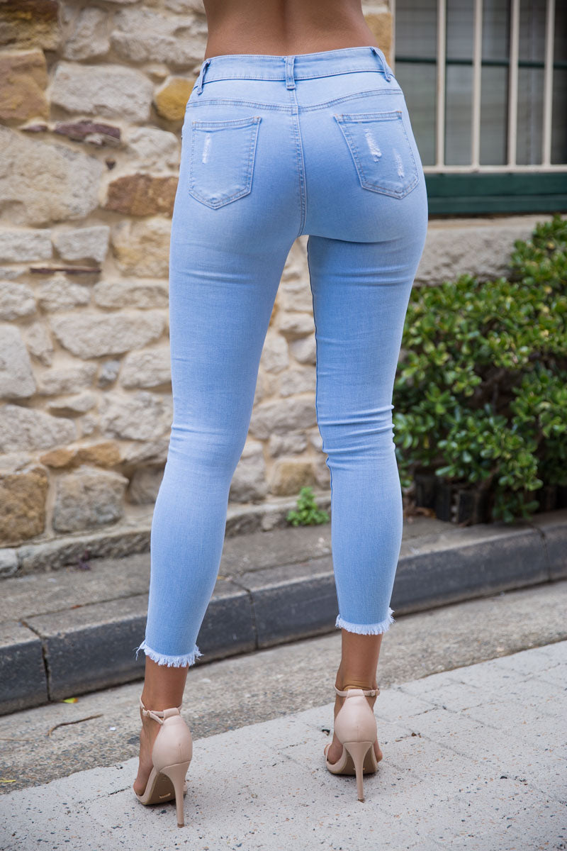 Maggie Straight Jeans - Blue - Dolly Girl Fashion