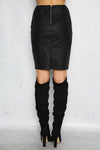 PIN UP GIRL LEATHER SKIRT - Black