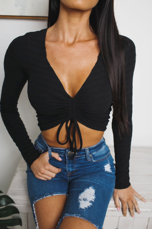 DAMI LONG SLEEVE CROP TOP - Black