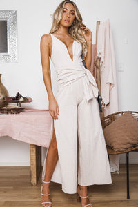 ASHER WIDE LEG JUMPSUIT - Beige Black Stripes