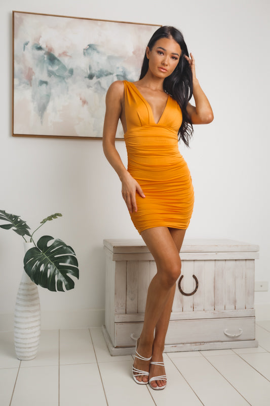 AVERIE SLEEVELESS MINI DRESS -  Orange