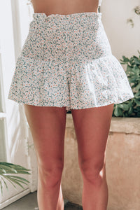 FELICIA SHORTS - White Teal Print