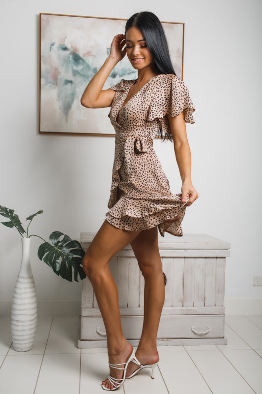 MADISON RUFFLED MINI DRESS - Beige Leopard