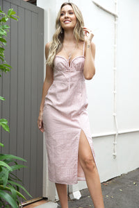TARRAGON MIDI DRESS - Blush Print - Dolly Girl Fashion