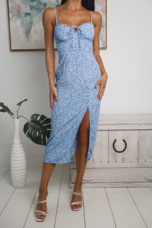 TARRAGON FRONT SPLIT MIDI DRESS - Blue White Print