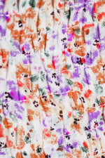 CASTELLA RUCHED MINI DRESS - Purple Orange Print