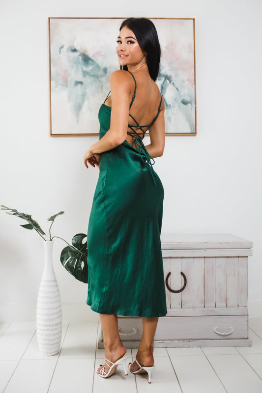 CELESTE LOW BACK MIDI DRESS - Green Satin