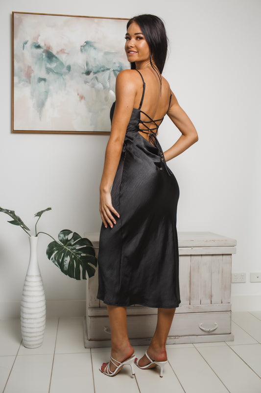 CELESTE LOW BACK MIDI DRESS - Black Satin