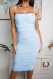MARILYN RUCHED MIDI DRESS - Blue